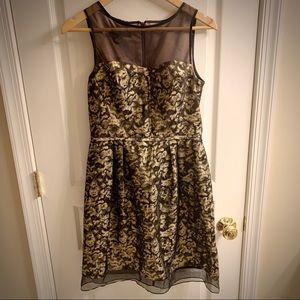 Donna Ricco Black and Gold Dress - Size 4